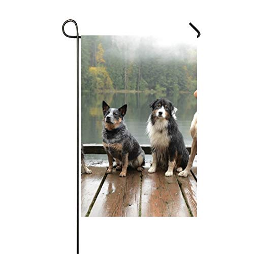 Dogs On A Pier Polyester Yard Flag Garden -