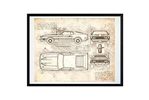 DolanPaperCo #433 Ford Mustang Mach 1 (1973) Art Print Art Print, da Vinci Sketch - Unframed - Multiple Size/Color Options (11x14, Vintage)