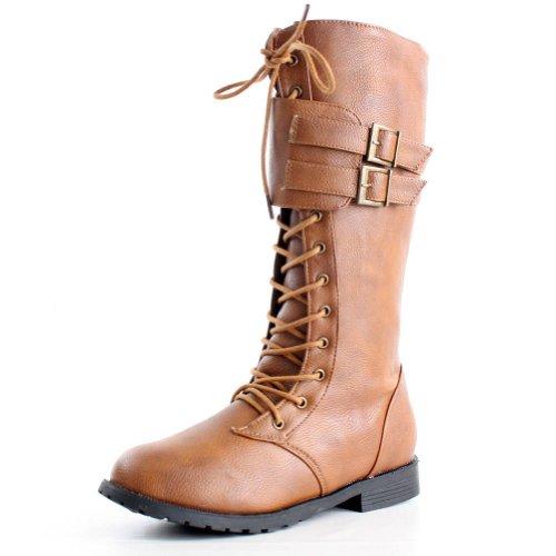 Womens Tan Biker Boots - 2