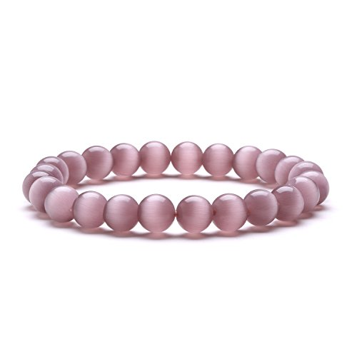 Cat Rose Healing Stone (J.Fee Charm Women Jewelry Deep Rose Cat's Eye 8mm Round Beads Natural Stone Stretch Bracelets Love Gift Handmade Semi-precious Crystal Elastic Link for Daughter Girl Friend)