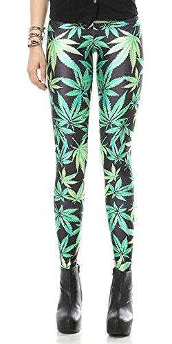 Leaf Print Footless Elastic Leggings - Green, M - L - XL ()