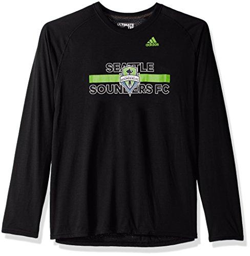 adidas MLS Seattle Sounders FC Adult Men 1949 Ultimate L/S Tee, Large, Black