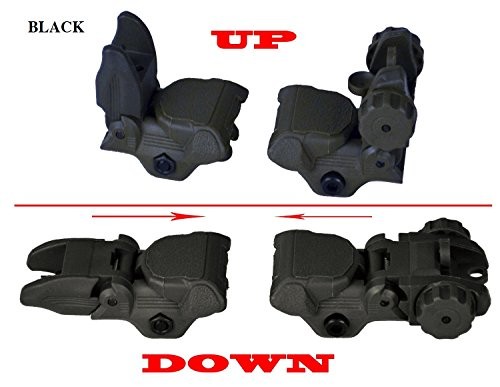Sniper Tactical Folding Iron Sight Tower Set; Front and Rear BUIS Combo Set; Polymer; Black ()