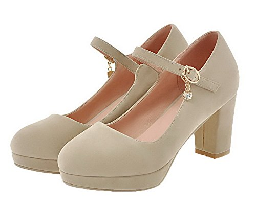 Odomolor Women's Solid Imitated Suede High-Heels Buckle Round-Toe Court Shoes Apricot wB69Fgoqa2