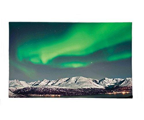 Interestlee Fleece Throw Blanket Nature Decor Aurora above Fjords Magical Nordic Northern Lights Sky Arctic Solar Scenery Jade Green by Interestlee