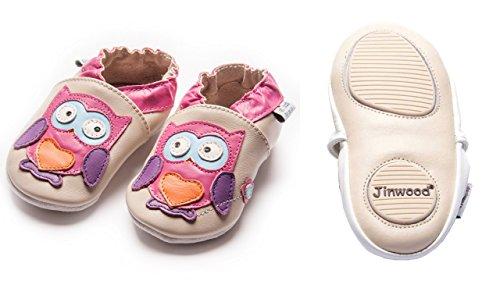 Jinwood designed by amsomo - Patucos de Piel para niña owl fuchsia mini shoes