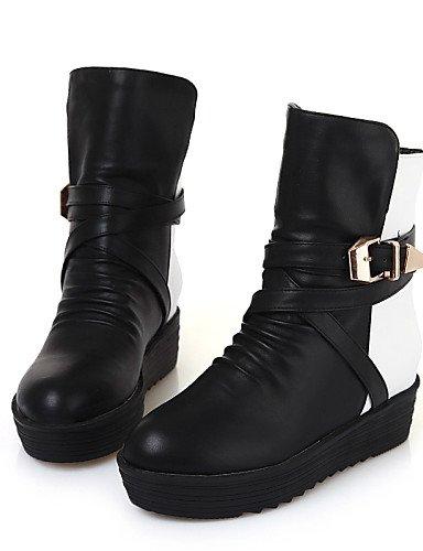 Plataforma Botas Cuero Zapatos Redonda Oficina Uk6 De Cerrada Eu39 Y Mujer Black Cn39 Vestido Casual Exterior Sintético Xzz us8 Trabajo Punta nt6d0zw6q