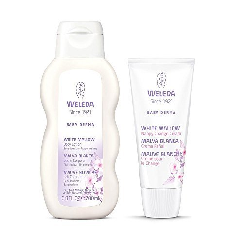 - Weleda White Mallow Diaper Rash Cream & Baby Derma Body Lotion Bundle, Fragrance Free For Highly Sensitive Skin, With Coconut Oil, Sesame Oil, Borage Oil and Essential Fatty Acids, 1.9 and 6.8 fl oz
