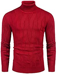 Men's Slim Fit Turtleneck Sweater Casual Knitted Pullover Sweaters