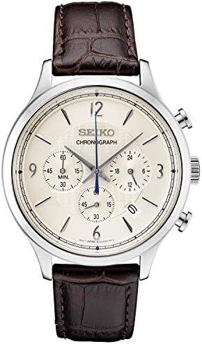 Seiko Men s Stainless Steel Japanese Quartz Leather Calfskin Strap, Brown, 0 Casual Watch Model SSB341