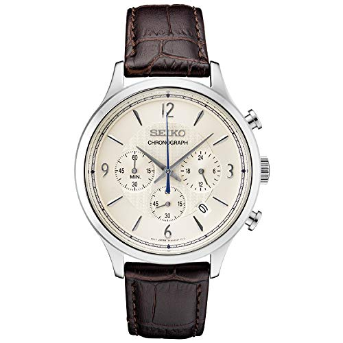 Dial Patterned Mens Silver - Seiko Men's Stainless Steel Japanese Quartz Leather Calfskin Strap, Brown, 0 Casual Watch (Model: SSB341)