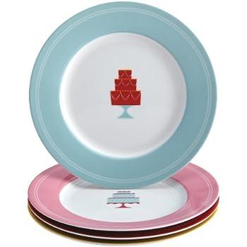 Cake Boss Serveware 4-Piece Porcelain Dessert Plate Set Mini Cakes Pattern Print  sc 1 st  Amazon.com & Amazon.com: Cake Boss Serveware 4-Piece Porcelain Dessert Plate Set ...