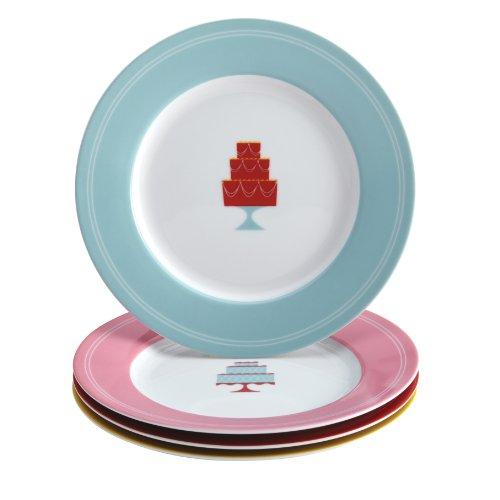 Cake Boss 58678 Serveware Dessert Plate Set, 4 Piece, Print
