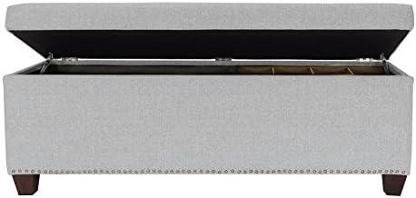 MJL Furniture Designs Shoe Ottoman Bedroom Storage Bench, Stone