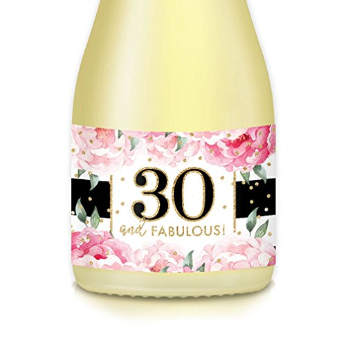 Women 30th HAPPY BIRTHDAY Woman Thirtieth Party Ideas & Decor, Mini Champagne & Wine Bottle Labels, She's THIRTY & Fabulous! Celebrate 30 Years Old Wife, Sister, Friend, Female Coworker, Set of 20