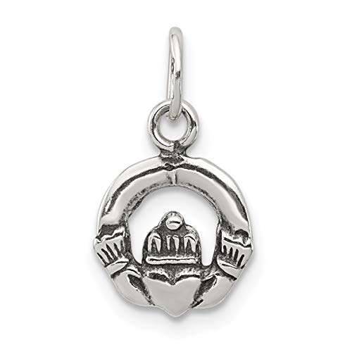 Solid Open-Back Claddagh Symbol Charm In Antiqued 925 Sterling Silver 12x10mm