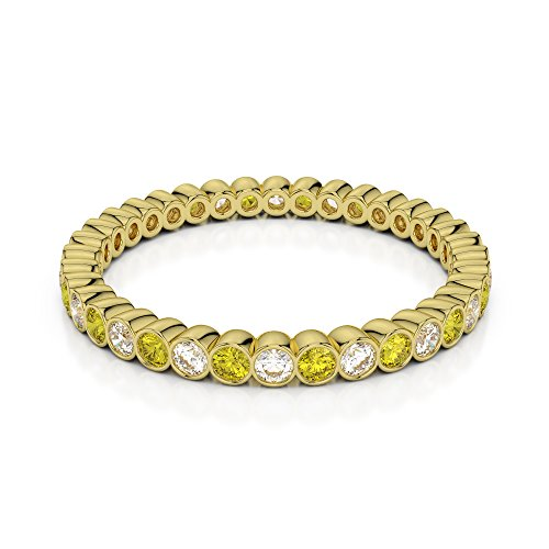 Or jaune 18carats 0,20CT G-H/VS sertie de diamants ronds Cut Saphir Jaune et éternité Bague Agdr-1098