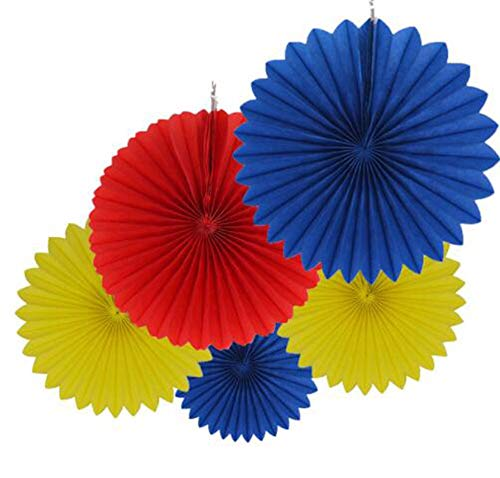 5 Pcs Yellow Royal Blue Red Tissue Paper Fan Set Hanging Tissue Paper Flower for Birthday Baby Shower Wedding Festival Decorations Party Photo Backdrop Decorations (10inch)