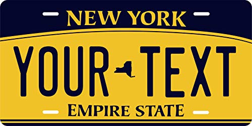 PhotoZoneGa 50 State Personalized Custom Novelty Tag Vehicle Auto Car Bike Bicycle Motorcycle Moped Key Chain License Plate (New York - York Custom Plate New