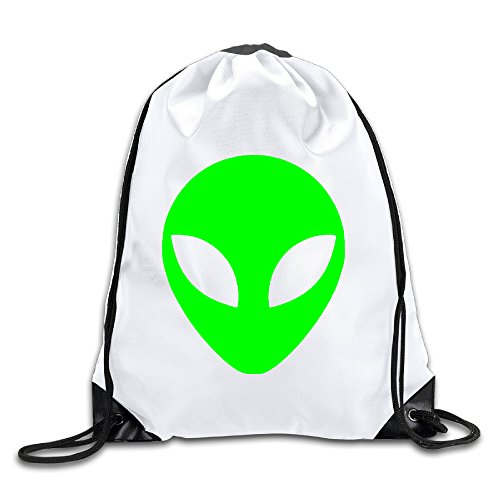 Hunson - Funny Green Alien Head UFO Cartoon ET Backpack Sack Bag Gym Bag For Men & Women Sackpack
