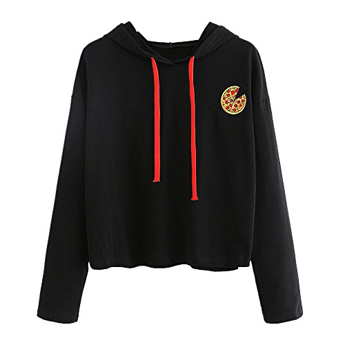 58f06252375cd6 Felpa Ragazza,Kword Donna Pizza Stampata Maglione Felpa Con Cappuccio  Ritaglio Top Print Pullover