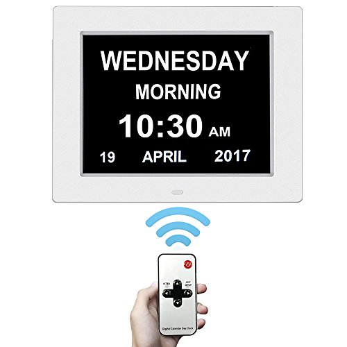 Day Clock With Wireless Remote - Extra Large Impaired Vision Digital Clock 8' Digital Calendar Alarm Day Clock with Battery Backup & 12 Alarm Options-[Newest Version White]