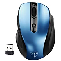 Wireless Mouse, Pictek Computer Mouse, 2.4GHz 6 Buttons, Nano Receiver, 2400 DPI, 18 Month Battery Life with Auto Energy-saving Sleeping Mode 5 Adjustment Mobile Mouse for Windows, Mac and Linux, Blue