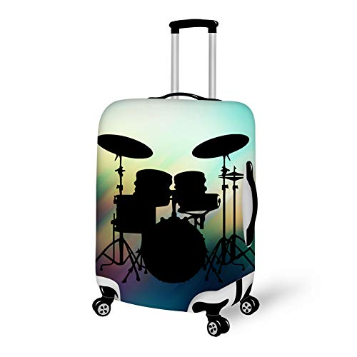 Washable Travel Luggage Cover Elastic Suitcase Trolley Protector Cover for 22-24 inch Luggage (Drums Vector Pattern)