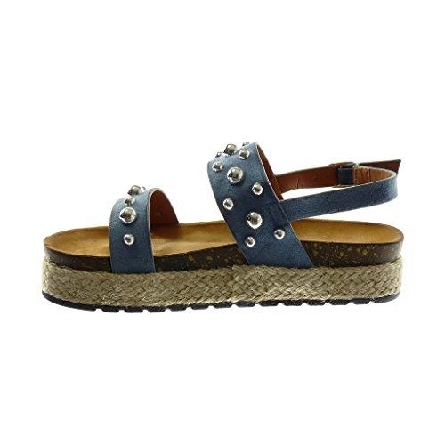 Zapatillas Sandalias Mujer Cuerda Azul Plataforma Angkorly 4 Correa Perla Tobillo De Cm Tachonado Moda Mules A1E1dxCq