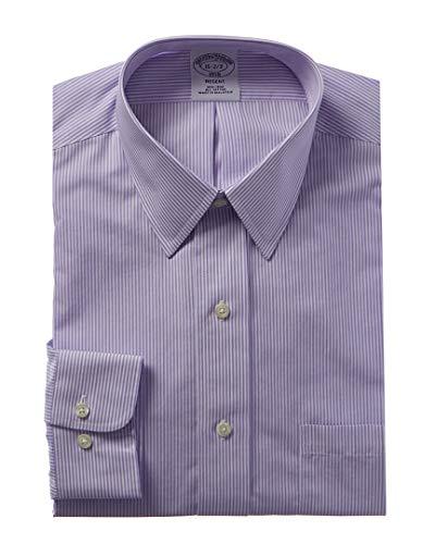 Brooks Brothers Mens 1818 Regent Fit Dress Shirt, 16H 34/35, Purple