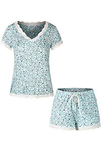 (SofiePJ Women's Rayon Printed V Neck Short Sleepwear Pajama Set with Short Pants and Lace Trim Light Blue)