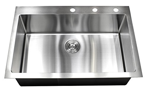 - 33 Inch Drop In Topmount Stainless Steel Kitchen Sink Package - 16 Gauge Single Bowl Basin w/9 Gauge Deck, 33