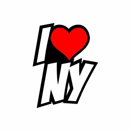 I Love NY - Color Sticker - Decal - Die Cut -