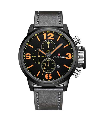 - FAERDUO Mens Analog Quartz Watches Leather Strap Multi-Function Waterproof Sports Wristwatch with Chronograph Auto Date (Black Orange)