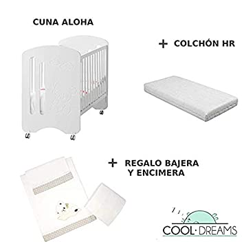 Cuna colecho de bebe Aloha + Ruedas + Kit colecho incluido + Colchón HR: Amazon.es: Bebé