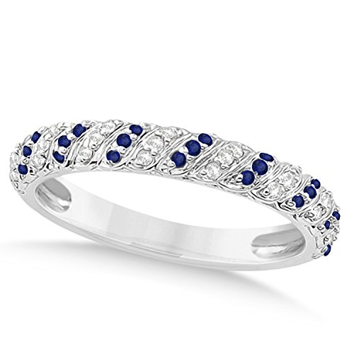 (0.24ct) 18k White Gold Blue Sapphire and Diamond Accented Swirl Wedding Band