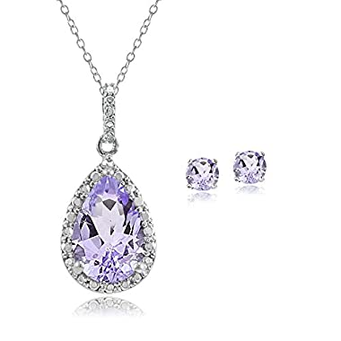 Sterling Silver Amethyst & Diamond Accent Teardrop Necklace Earrings Set