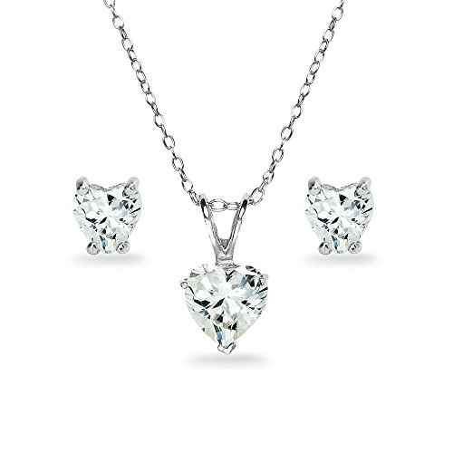 Sterling Silver Heart Solitaire Necklace & Stud Earrings Set Made with Swarovski Zirconia