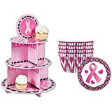 Pink Ribbon Breast Cancer Awareness Cupcake Stand Display Kit