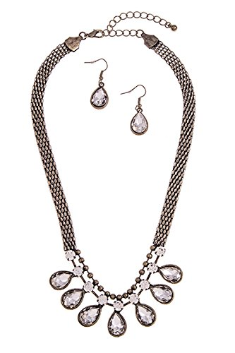GlitZ Finery LINKED TEARDROP FACETED STONE MESH CHAIN NECKLACE SET (Clear)