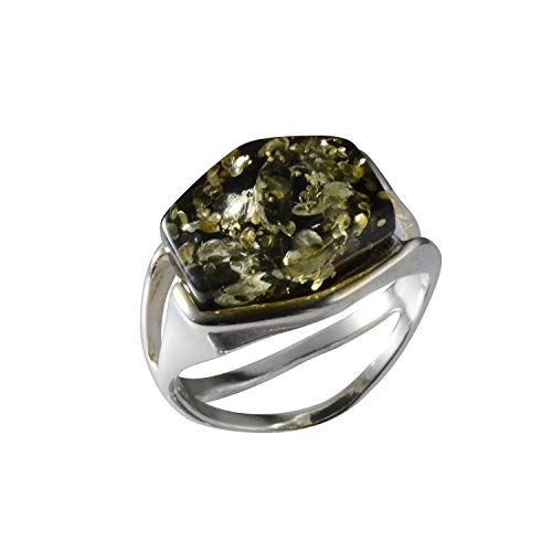 HolidayGiftShops Sterling Silver Baltic Green Amber Ring Size: 9