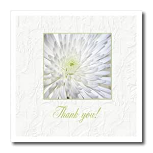 ht_179270_2 Beverly Turner Thank you Design - Chrysanthemum in Textured White Frame, Thank you - Iron on Heat Transfers - 6x6 Iron on Heat Transfer for White Material