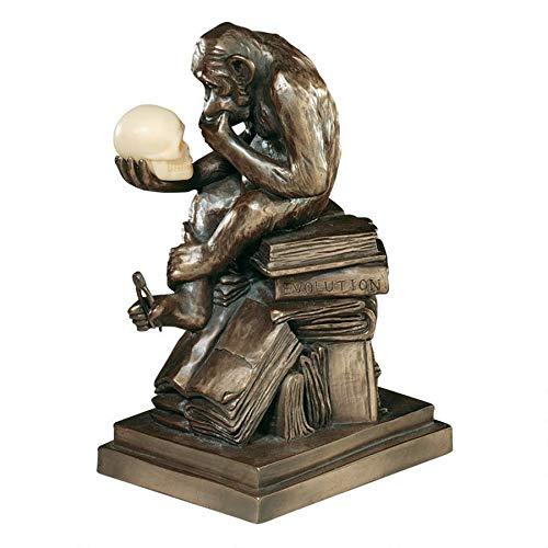 Design Toscano Charles Darwin s Ape Human Evolution Figurine Animal Statue, Bronze