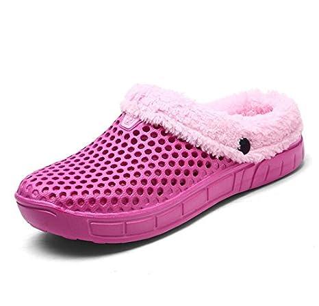 Beauqueen Inicio Crocs Zapatillas Zapatillas Sweet Pink Hollow Warm Folding Suelas Antideslizantes Zapatillas Casual Mujeres Soft Artificial Short Felpa