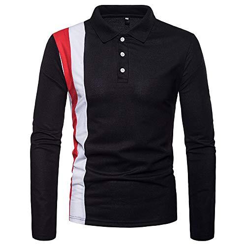 iLXHD 2018 Men Multi-Type Turn Down Collar Sweartshirt Long Sleeve Polo Shirt (Black 3,US M/CN L) -