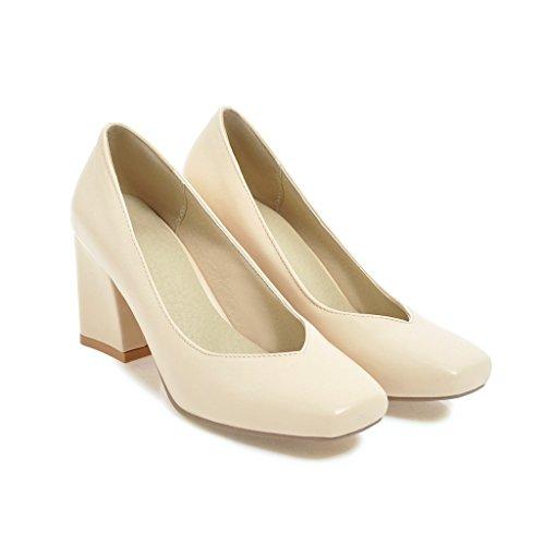 Peu Chaussures Rice carré Bouche Bloc Femme White Talons QIN amp;X Tête Profond CXQ vYqR6P