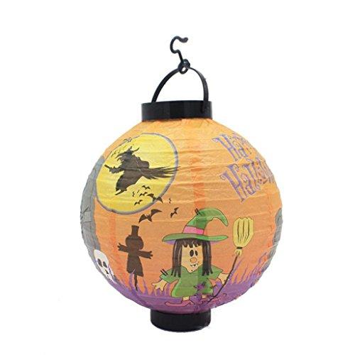 Halloween Decoration,Elevin(TM)Happy Vintage Halloween Festival Party Decor LED Pumpkin Spider DIY Paper Lantern -