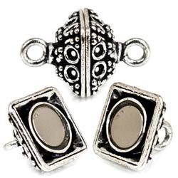 25x11mm Antiqued Sterling Silver plated Copper Magnetic Clasp Circular and Miligrain 1 piece
