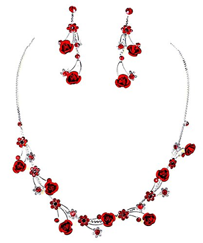 Faceted Metal Red Rose Flower Crystal Rhinestone Necklace & Earring Set (U-Red) (Faceted Crystal Necklace Earrings)