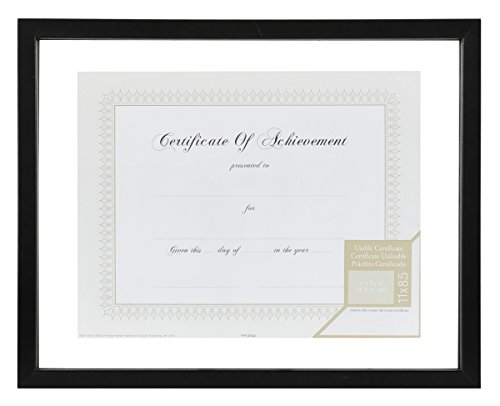 GALLERY SOLUTIONS 11x14 Black Float Document Frame For Floating Display of 8.5x11 Document or Image #14FW1277 (Glass Floating Frame)